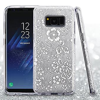 ASMYNA Silver Embossed Full Glitter Hybrid Case for Galaxy S8 Plus