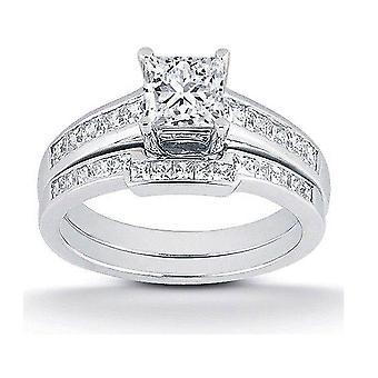 1ct Princess Cut Channel Set Diamond Wedding Engagement Ring 14K White Gold