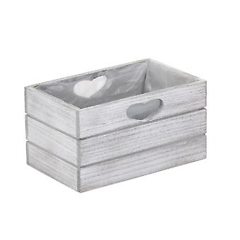 Vintage Effect Wooden Planter With Plastic Lining