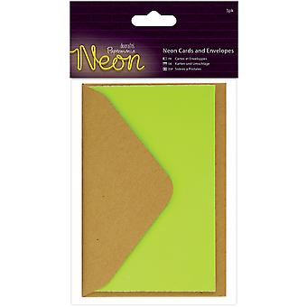 Papermania Neon Cards W/Envelopes 3/Pkg-Yellow PM151852