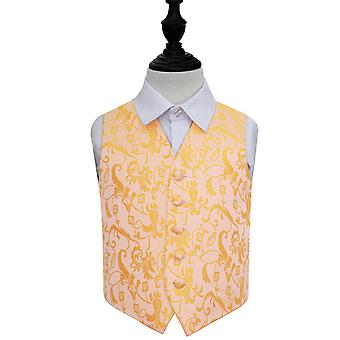 Boy's Gold Passion Floral Patterned Wedding Waistcoat