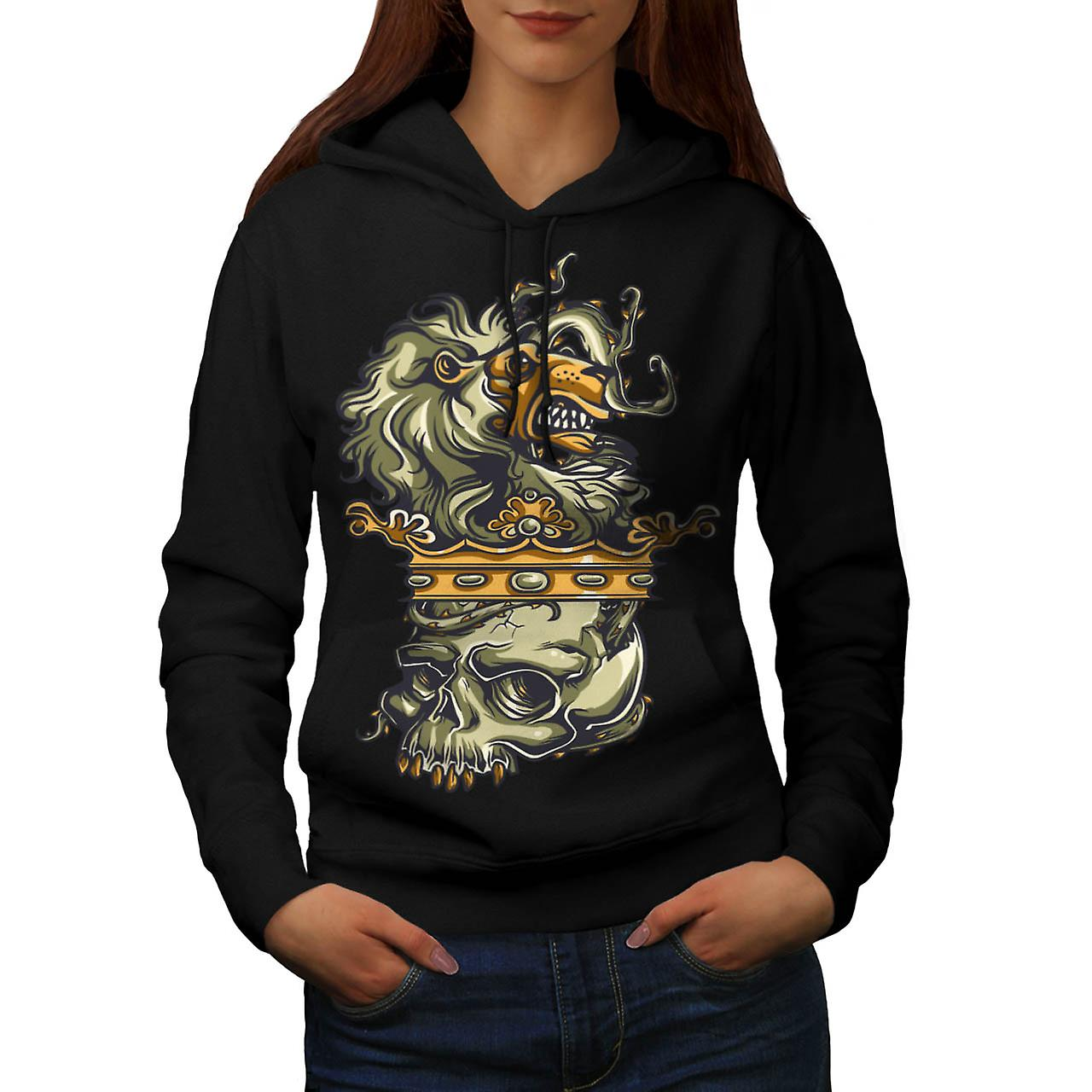 Royal Lion Kingdom Crown Battle Women Black Hoodie | Wellcoda
