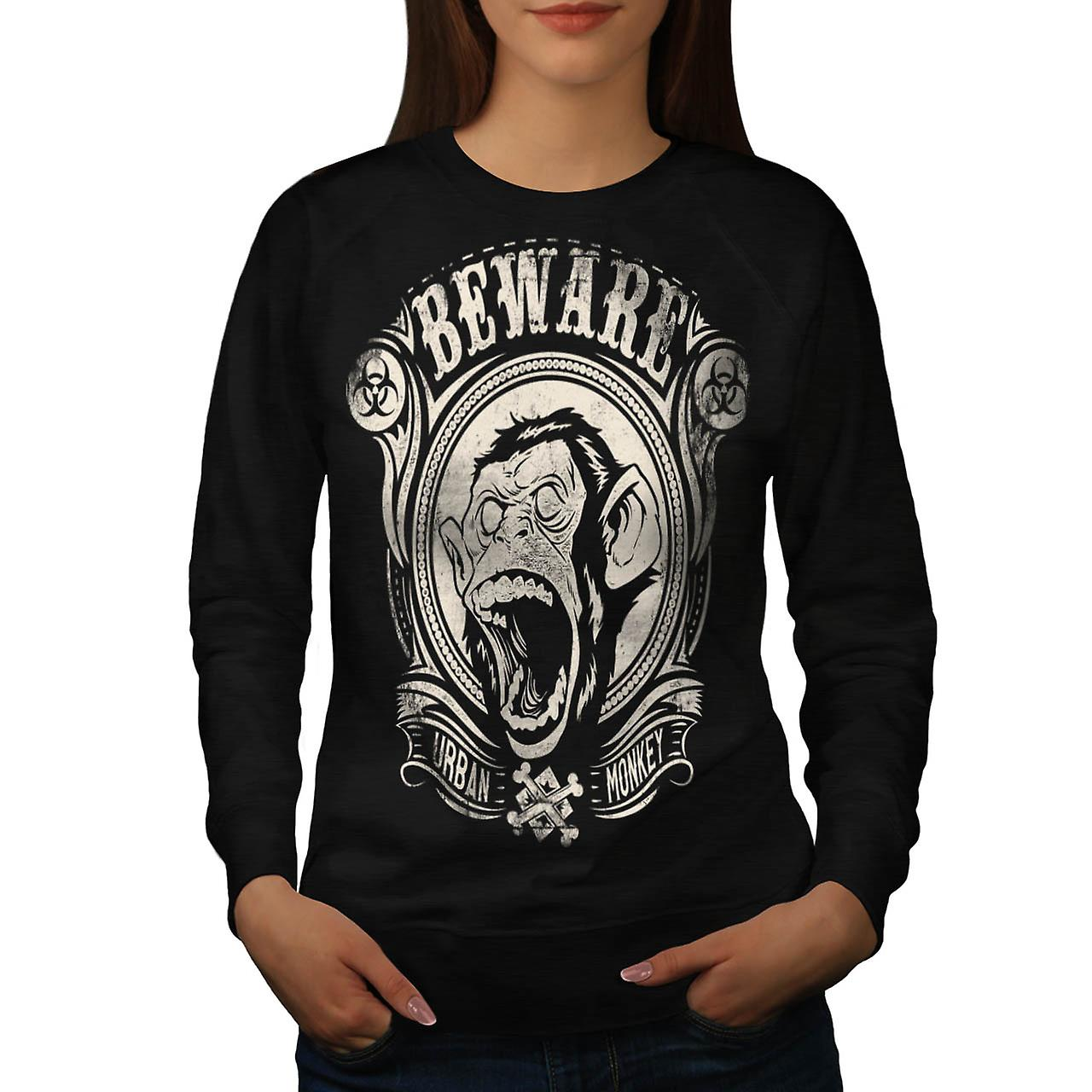 Beware Monkey Vintage Women Black Sweatshirt | Wellcoda