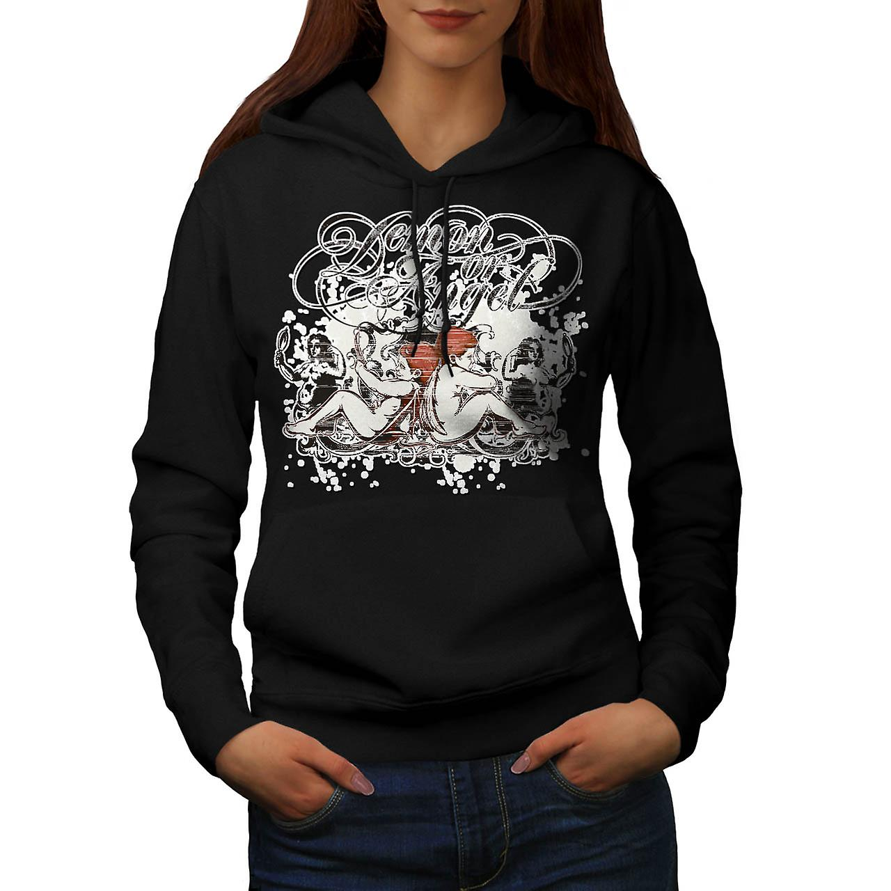 Demon Or Angel Wing Heaven Hell Women Black Hoodie | Wellcoda