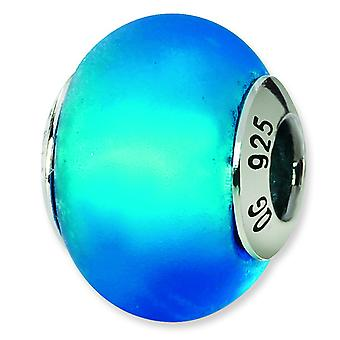 Sterling Silver Reflections Blue Matte Italian Murano Bead Charm