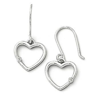 Oorbellen in zilver wit Ice Diamond Heart -.02 dwt