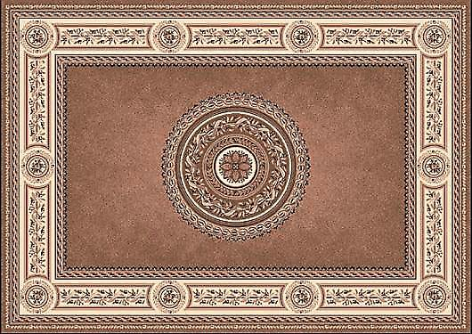 Kamira Beige 4452-807 centre brun riche avec la frontière beige clair Rectangle Tapis Tapis traditionnel