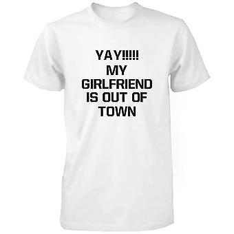 Yay My Girlfriend is Out of Town Men's Funny Tshirt Humorous Graphic Tee Funny Shirt