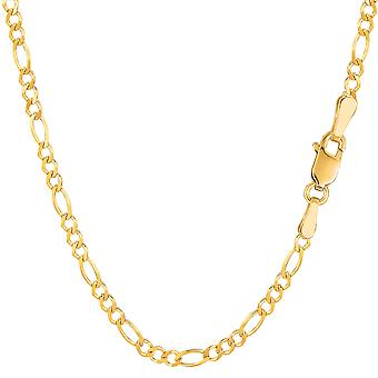 14k Yellow Gold Classic Figaro Chain Bracelet, 2.6mm, 7