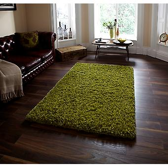 Luxury Soft Touch Green Shaggy Wool Rug - Athens