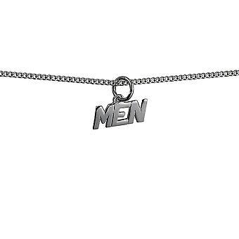 Silber 6x8mm 'Männer' Anhänger mit einem Bordstein Kette 24 Zoll