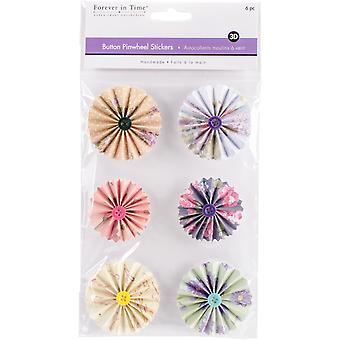 MultiCraft Handmade 3D Button Pinwheel Stickers-Floral SS800-C