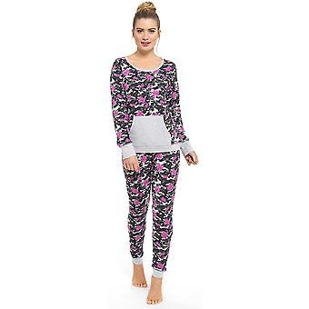 Ladies Tom Franks Summer Floral Camo Print Long Sleeve Pyjama Set Sleepwear