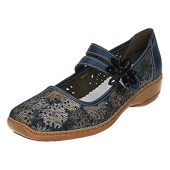 Rieker Casual Leather Mary Jane Flat Shoes 41372-90