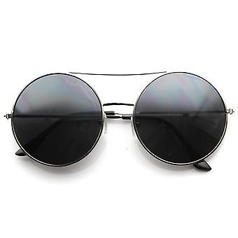 Большие круглые солнцезащитные очки кадр круг металл ж / крест бар