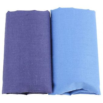 David Van Hagen Classic Plain Handkerchief Set - Light Blue/Dark Blue