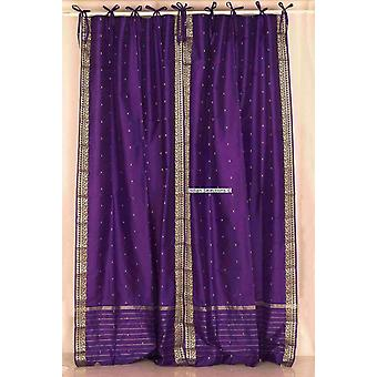 Purple  Tie Top  Sheer Sari Curtain / Drape / Panel  - Pair