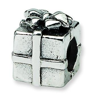 Sterling Silver Polished Antique finish Reflections Kids Present Bead Charm