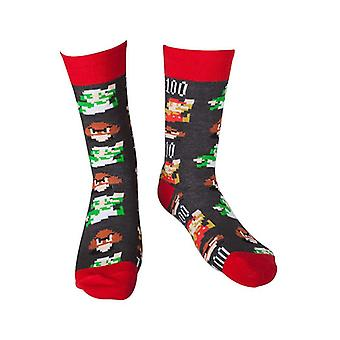 Super Mario Pixel Art Novelty Crew Socks Size 43-46 (CR061063NTN-43/46)