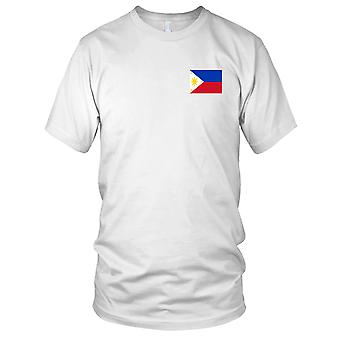 Nationalflagge Philippinen Land - Stickerei Logo - 100 % Baumwolle T-Shirt Damen T Shirt
