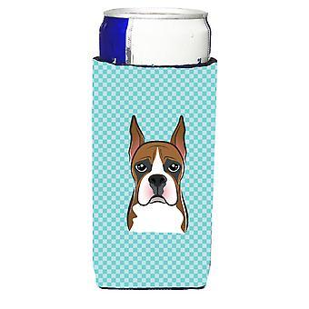 Checkerboard Blue Boxer Ultra Beverage Insulators for slim cans
