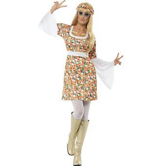 Donne costumi Hippie Abito con maniche larghe e stampa del fiore