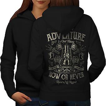 Adventure Never Slogan Women BlackHoodie Back | Wellcoda
