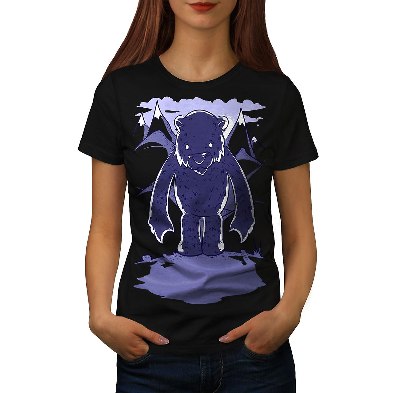 White Bear Cartoon Animal Women Black T-shirt | Wellcoda