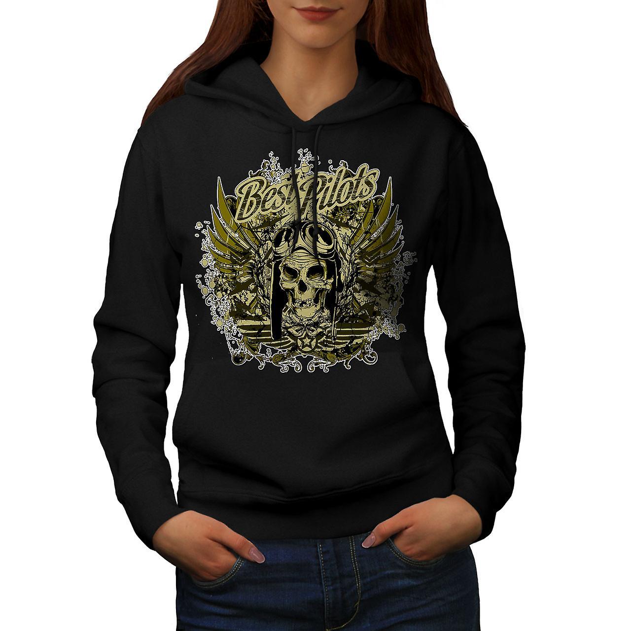 Best Pilot War Cool Skull Women Black Hoodie | Wellcoda