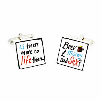 Sonia Spencer Is there more to life Cufflinks - English Bone China Hand Crafted Cuff Links