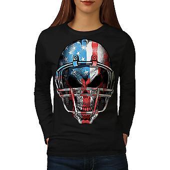America Football Women BlackLong Sleeve T-shirt | Wellcoda