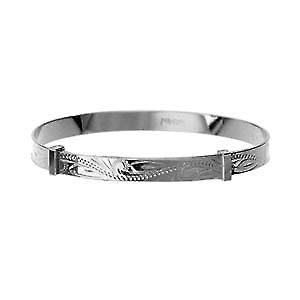 Silver 45mm diameter expanding baby Bangle hand engraved