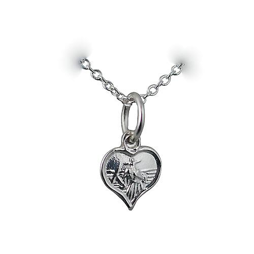 Silver 8mm heart St Christopher Pendant with a rolo Chain 18 inches