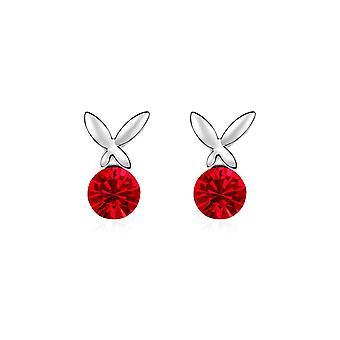 Butterfly kristallen van Swarovski Element rood en wit goud plaat oorbellen