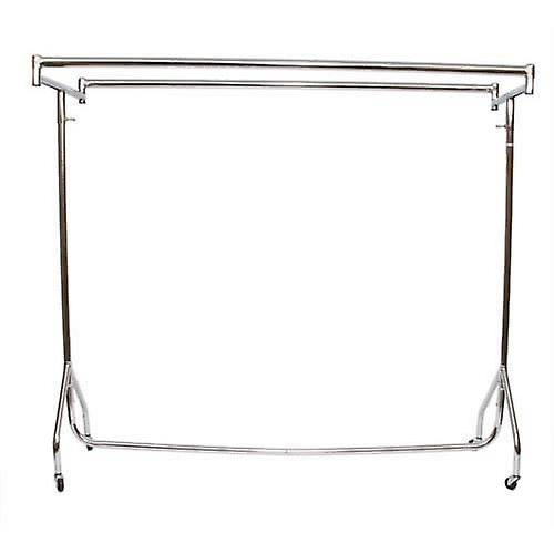 3ft Heavy Duty Chrome Clothes Rail Double Top Bars 92x155x50cm