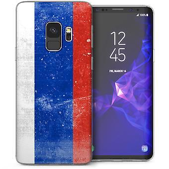 Samsung Galaxy S9 Retro Rusland vlag TPU Gel Case - blauw