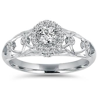 1/2CT Vintage Halo Round Diamond Engagement Ring 14K White Gold