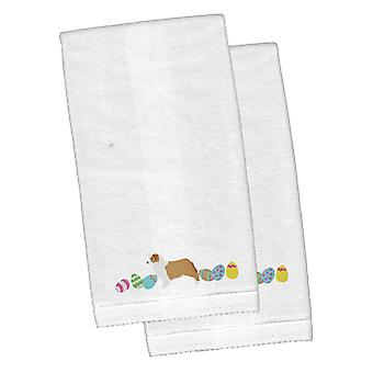 Australian Shepherd Easter White Embroidered Plush Hand Towel Set of 2