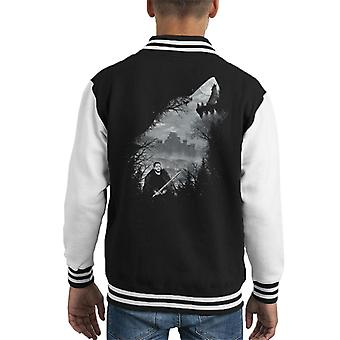 Game Of Thrones King Of The North Wolf Collage Kid's Varsity Jacket
