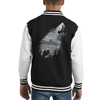 Spel van tronen koning van het noorden Wolf Collage Kid's Varsity Jacket