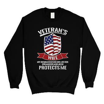 Veteranen Frau Sweatshirt schwarz Unisex stolz Armee Frau Sweatshirt