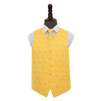 Gold Paisley Wedding Waistcoat & Tie Set