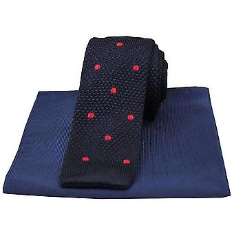 David Van Hagen Spotted Thin Knitted Silk Tie and Ribbed Handkerchief Set - Navy/Red