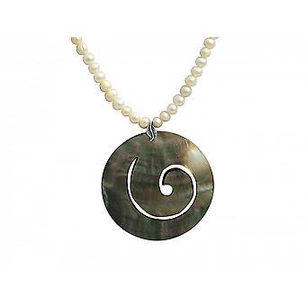 Halskette – Anhänger – Medaillon - Perlen – 925 Silber – Perlmutt – Grau - 5 cm