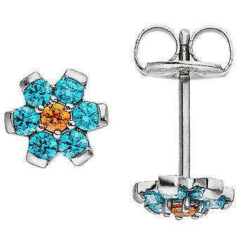 Earrings flower made of stainless steel with Crystal element light blue blue earrings