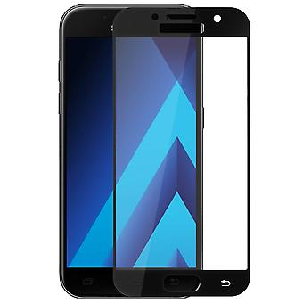 9H tempered glass screen protector for Galaxy A3 2017, colored edges - Black