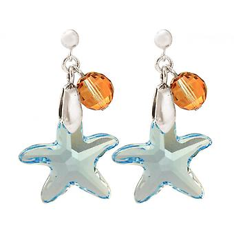 Ladies earrings 925 Silver Starfish blue MADE WITH SWAROVSKI ELEMENTS® 3 cm