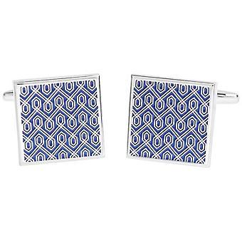 David Van Hagen brillante esmalte cuadrados diseño geométrico gemelos - azul/plata
