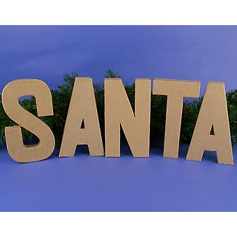 Large 205mm Paper Mache 'Santa' Letters to Decorate for Christmas