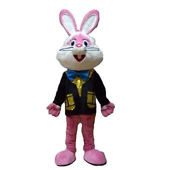 mascot SPOTSOUND pink and white Bunny with a colorful waistcoat